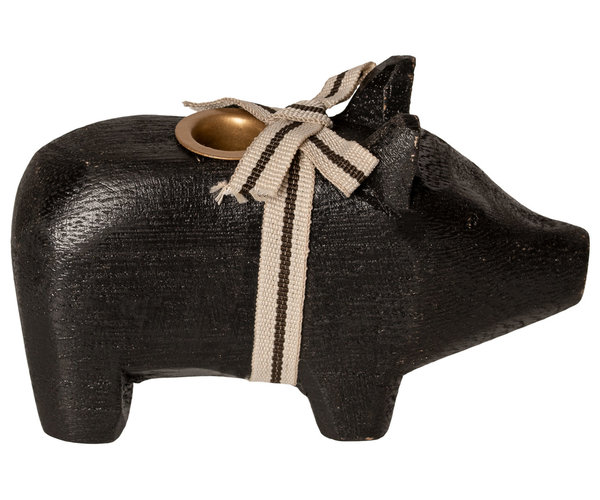 Maileg Wooden pig, small-Black