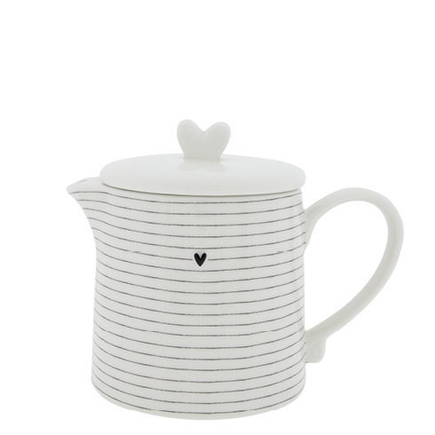Bastion Collections Teapot White w.Stripes
